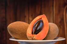Mamey Sliced Fruit Close Up