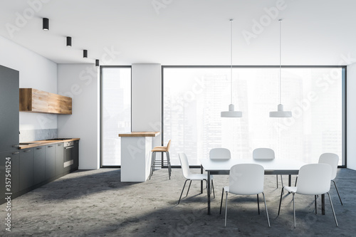 Obraz White and grey kitchen interior with bar and table - fototapety do salonu