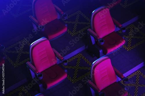 Fotografía Cinema seats in dark room, social distancing