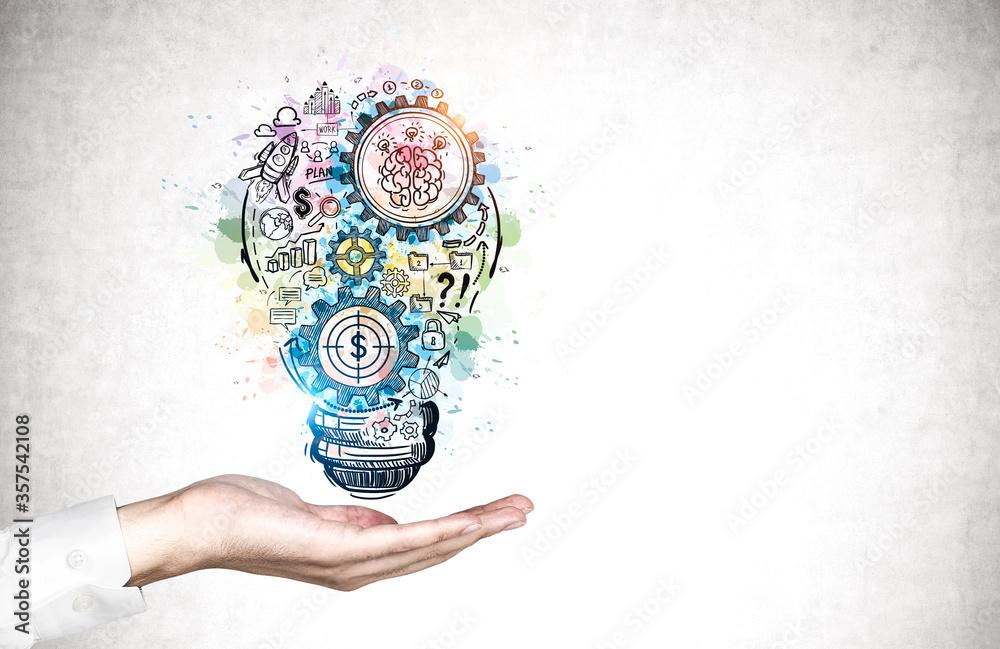 Fototapeta Man hand showing business idea sketch