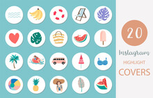 Icon Of Instagram Highlight Cover With Beach, Watermelon, Fruit In Summer Style For Social Media