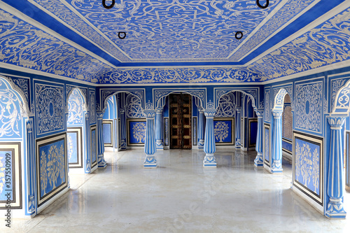 The Blue Palace in Chandra Mahal are beautifully adorned with blue and white coloured rooms in city palace jaipur, rajasthan, india April 2018 Canvas