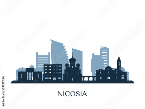 Nicosia skyline, monochrome silhouette. Vector illustration. Fototapete