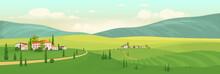 Summer In Italian Village Flat Color Vector Illustration