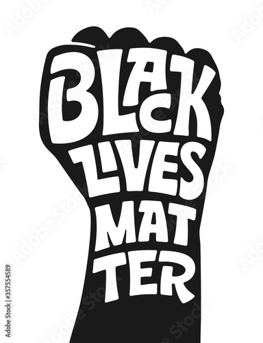 Vector lettering BLACK LIVES MATTER on white isolation background Tapéta, Fotótapéta