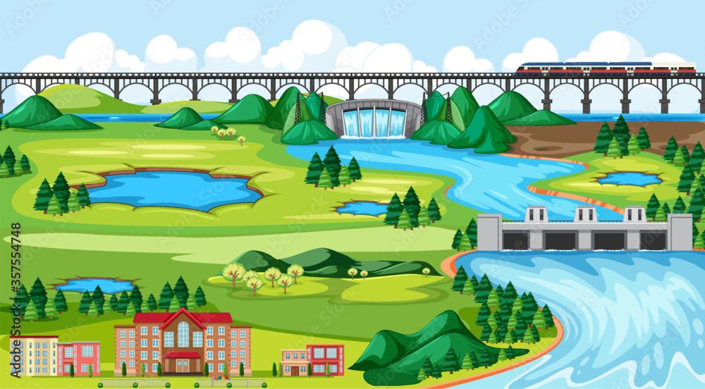 Fototapeta Town or city and bridge train landscape scene in cartoon style
