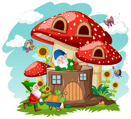 Gnomes and stump mushroom house and in the garden cartoon style on sky background