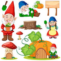 Set of garden gnome cartoon character on white background