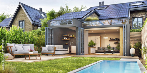 Modern house with patio area and solar panels Fototapet