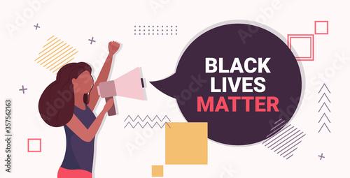Photo african american woman shouting in loudspeaker black lives matter awareness camp