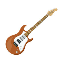 Electric Guitar Flat Style Isolated On White. Musical Object Concept Vector For Your Design Work, Presentation, Website Or Others.