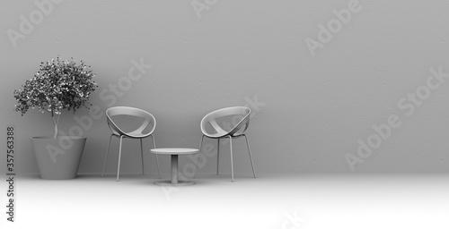 Photo Ilustración 3D de un set de dos sillas, mesa baja y una planta en maceta