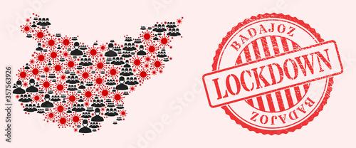 Vector collage Badajoz Province map of corona virus, masked men and red grunge lockdown stamp. Virus particles and men in masks inside Badajoz Province map.