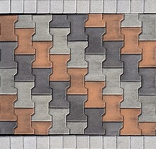 Tiles For Outdoors And Pavements, Arranged Transversely. Colors Are Orange,white And Gray.