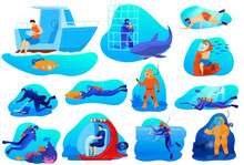 People Dive Vector Illustrations. Cartoon Flat Diver Character In Scuba Diving Mask Suit Exploring Underwater Coral Reef, Swimming With Tropical Fish In Deep Sea Water, Extreme Sport Isolated On White