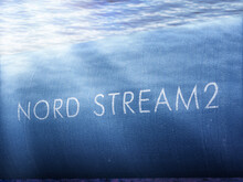 "Illustration With A Pipe And The Inscription ""Nord Stream 2"" On It"