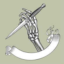 Engraved Drawing Of A Skeleton Hand Holding A Dagger With Rose And Ribbon Banner
