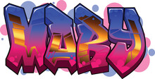Mary Name Text Graffiti Word D...
