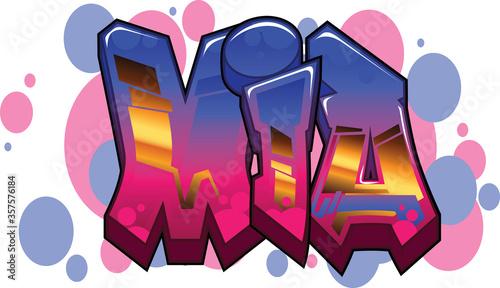 Cuadros en Lienzo mia Name Text Graffiti Word Design