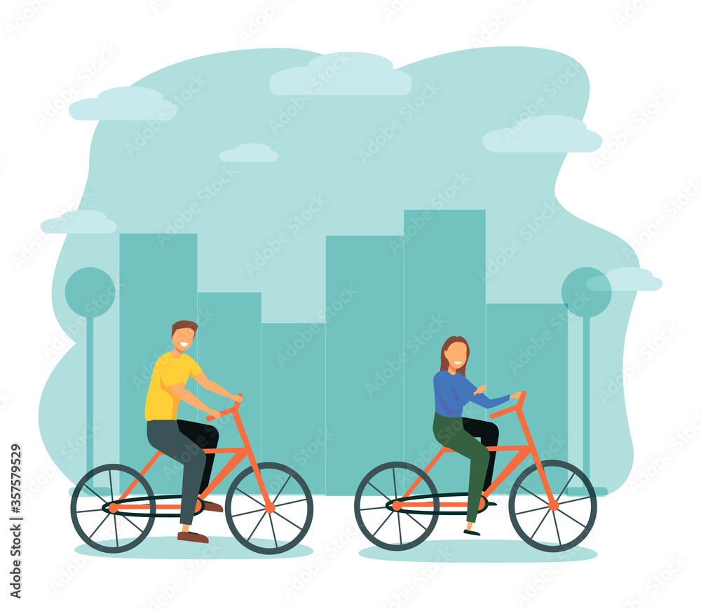 Fototapeta Man and Woman Characters Riding Bicycle in the City Background. Active People Enjoying Bike Ride in the Park. Healthy Lifestyle, Eco Transportation. Vector Illustration