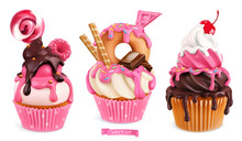 Cupcakes With Raspberries, Donut, Chocolate. 3d Realistic Vector Sweet Desserts. Food Icons