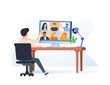 Illustrations flat design concept video conference. online meeting work form home. Vector illustrate. Video streaming