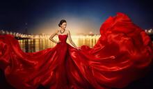Fashion Model In Fluttering Dress In Night City Street Lights, Elegant Woman In Red Long Gown, Full Length Beauty Portrait