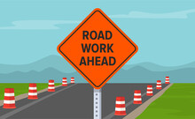 Road Work Ahead Or Under Construction Sign. Flat Vector Illustration.