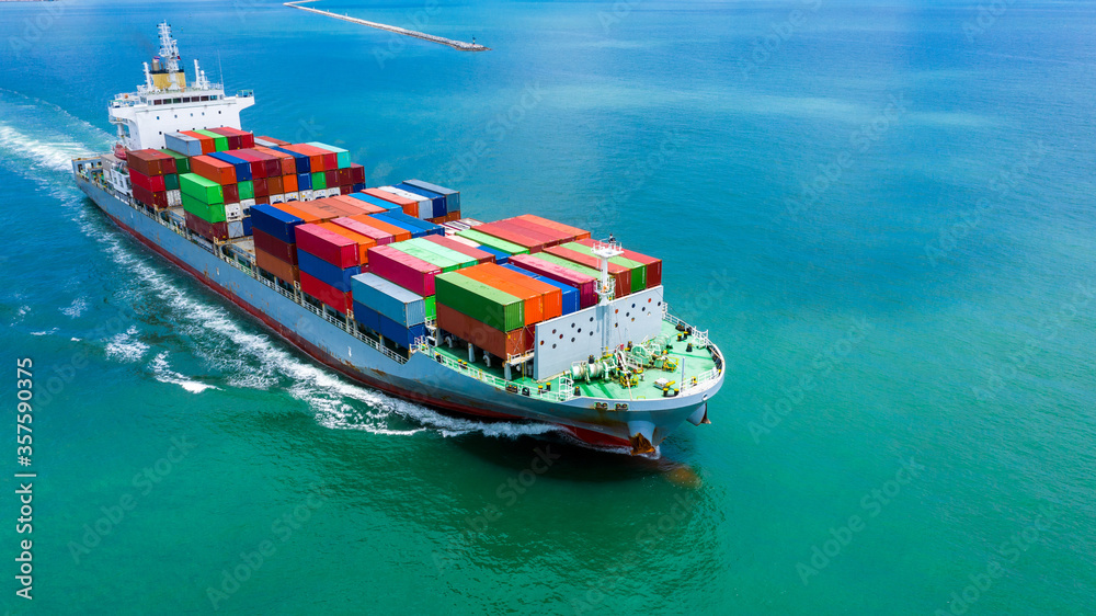 Fototapeta Container ship in seaport terminal, Container cargo vessel freight shipping company commercial worldwide, Freight transportation ship, Global transport cargo and logistic business import and export.