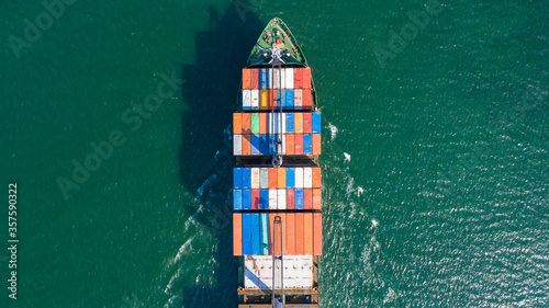 Aerial view container cargo ship in ocean, Business industry commerce global import export logistic transportation oversea worldwide, Sea shipping company vessel.