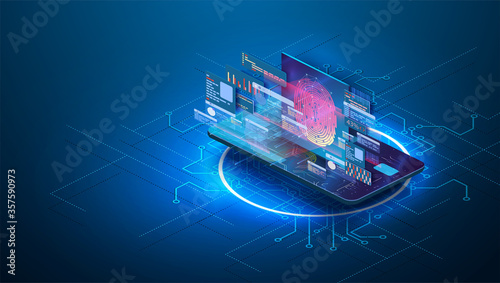 Fototapeta Card data protection with biometric technologies concept. Fingerprint Scanning Identification system security concept. Protection banking finance. Security Plastic Debit card software.Isometric vector obraz