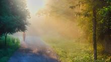 A Man Walk On A Mist Foggy Mor...