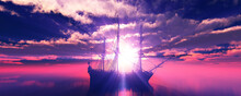 Old Ship Sunset At Sea 3d Rend...