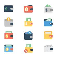 Digital Wallet Flat Icons Pack