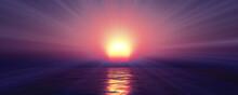 Sunset Sea Sun Ray Clear Sky. ...