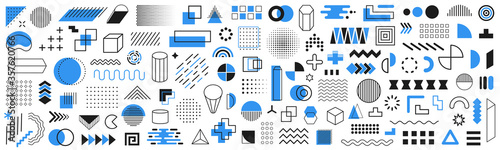 Obraz Set of 120 geometric shapes icons. Memphis design retro elements. Collection trendy halftone geometric shapes. Retro funky graphic, 90s trends designs and vintage print element collection - fototapety do salonu
