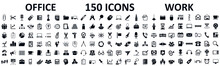 Set Of 150 Office Icons, Work ...