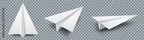 Fototapeta Set realistic white paper plane 3D model jet. Different view paper airplane isolated on transparent background – stock vector obraz
