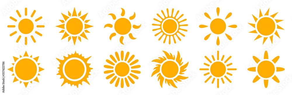Fototapeta Set sun icons sign - stock vector