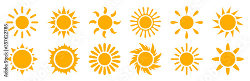 Fototapeta Set sun icons sign - stock vector obraz