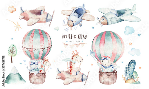 Watercolor set baby cartoon cute pilot aviation background illustration of fancy sky transport complete with airplanes balloons, clouds Canvas Print