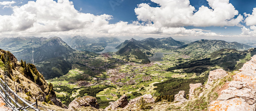 Panorama, Aussicht vom grossen Mythen auf Vierwaldstättersee, Lauerzersee, Stadt Canvas Print