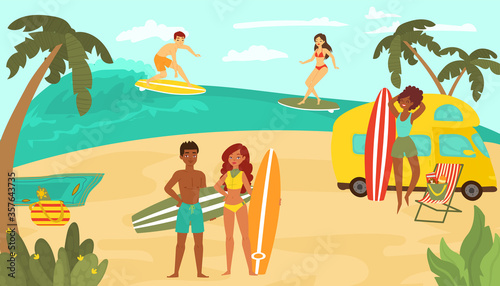 Cuadros en Lienzo Young people multinational race, black white female male character training surfing ocean tropical beach cartoon vector illustration