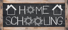 HOMESCHOOLING - Old Rustic Blackboard With Wooden Frame, White Lettering And Copy Space