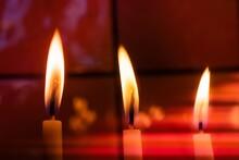 Closeup Shot Of Church Candles...