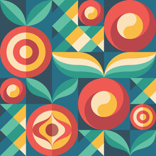 Background Fruits And Green Leaves Nature. Abstract Geometric Seamless Pattern. Decorative Ornament In Flat Design Style. Ripe Harvest Banner. Floral Backdrop. Organic Vegetables Product. Tropical.