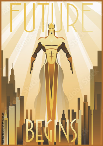Fototapeta do sypialni   retro-future-flying-man-art-deco-poster-cityscape-golden-rays-1920s-1930s-style