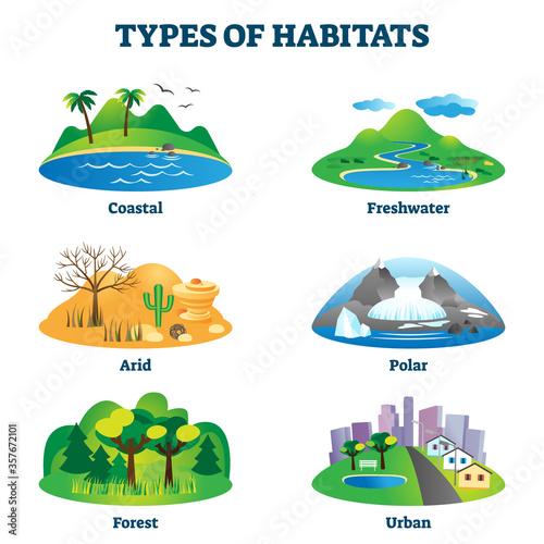Fotografie, Obraz Types of habitats vector illustration