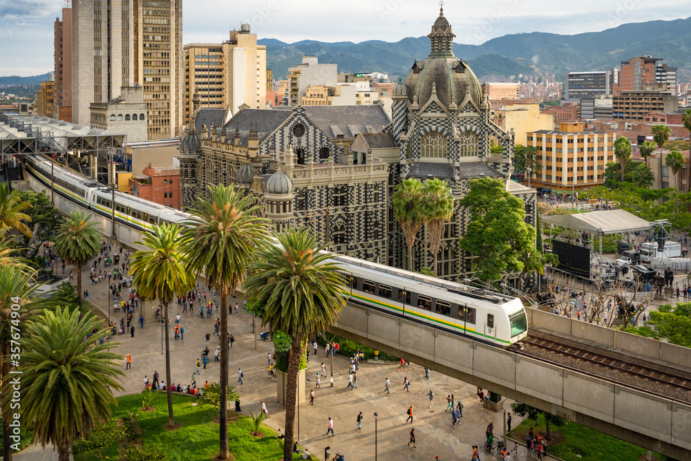 Fototapeta Medellín, Antioquia / Colombia. February 25, 2019. The Medellín metro is a massive rapid transit system that serves the city