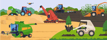 Agricultural Machinery In Field, Harvest Vehicle Equipment And Rural Transport, Vector Illustration. Farmland Cultivation, Plowing And Harvesting, Agriculture Industry Machines. Haystack Wheat Crop